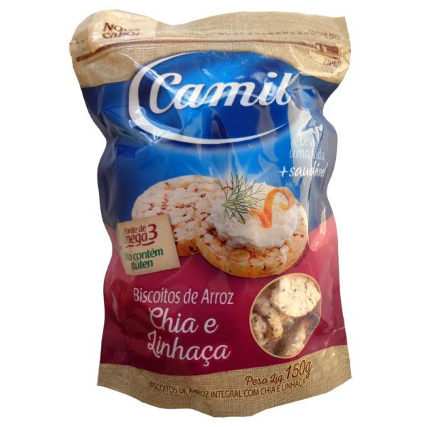 Camil Mini Biscoitos de Arroz Integral Chia e Linhaça